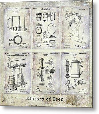 History Of Beer Patents Metal Print by Jon Neidert