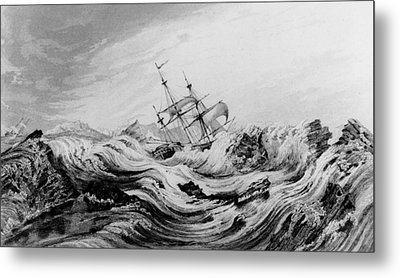 Hms Dorothea Commanded By David Buchan Driven Into Arctic Ice Metal Print by English School