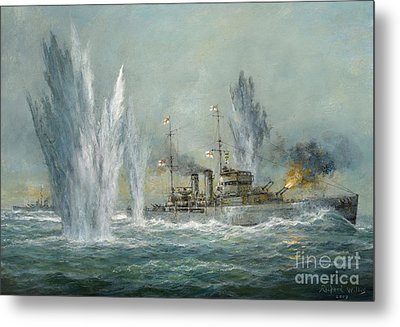 Hms Exeter Engaging In The Graf Spree At The Battle Of The River Plate Metal Print by Richard Willis