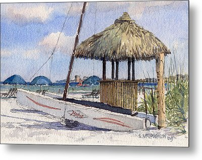 Hobie And Tiki On Crescent Beach Metal Print by Shawn McLoughlin