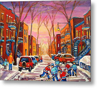 Hockey On Hotel De Ville Street Metal Print by Carole Spandau
