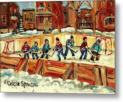 Hockey Rinks In Montreal Metal Print by Carole Spandau