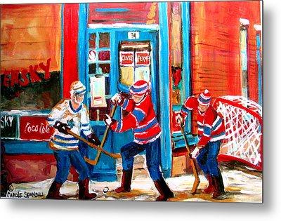 Hockey Sticks In Action Metal Print by Carole Spandau