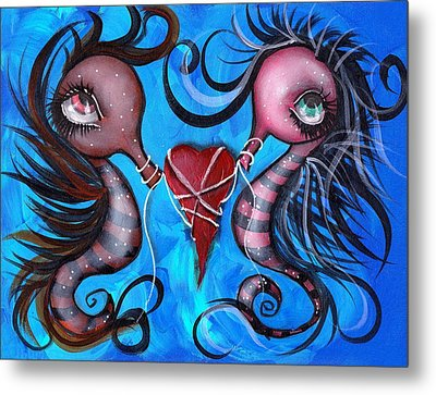 Holding Our Love Metal Print by  Abril Andrade Griffith
