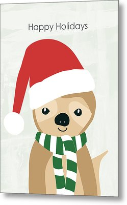 Holiday Sloth- Design By Linda Woods Metal Print by Linda Woods