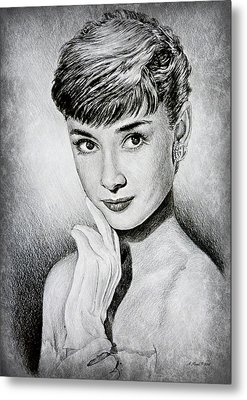 Hollywood Greats Audrey Hepburn Metal Print by Andrew Read
