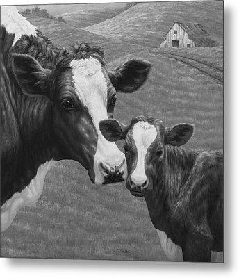Holstein Cow Farm Black And White Metal Print by Crista Forest