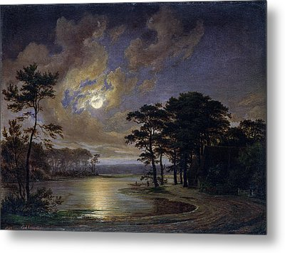 Holstein Sea Moonlight Metal Print by Johann Georg Haeselich