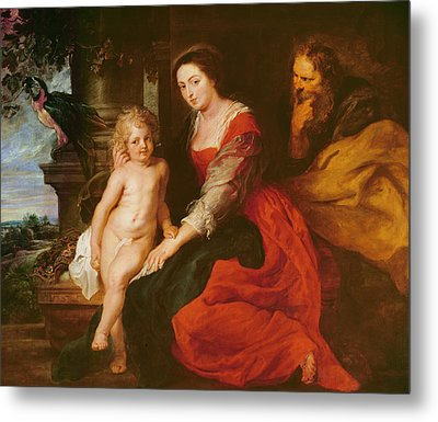 Holy Family With Parrot Metal Print by Rubens