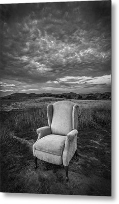 Home On The Range - Black And White Metal Print by Peter Tellone