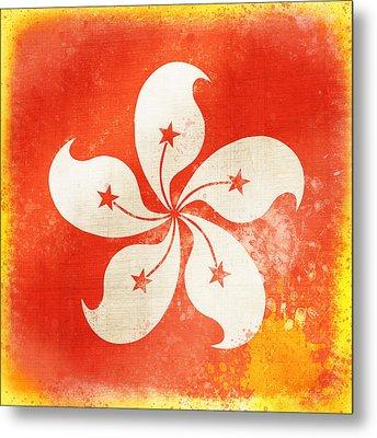 Hong Kong China Flag Metal Print by Setsiri Silapasuwanchai