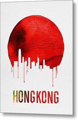 Hong Kong Skyline Red Metal Print by Naxart Studio
