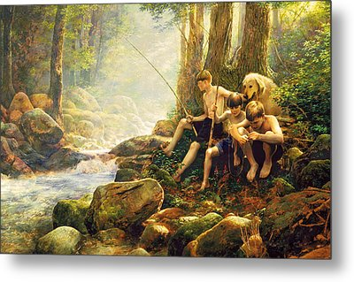 Hook Line And Summer Metal Print by Greg Olsen