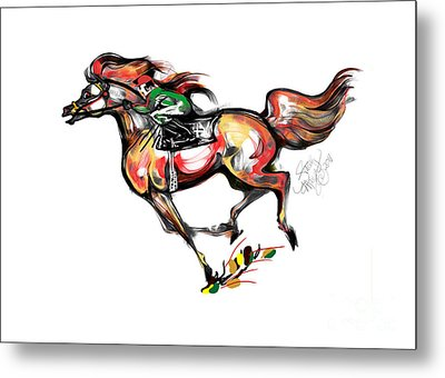 Horse Racing In Fast Colors Metal Print by Stacey Mayer