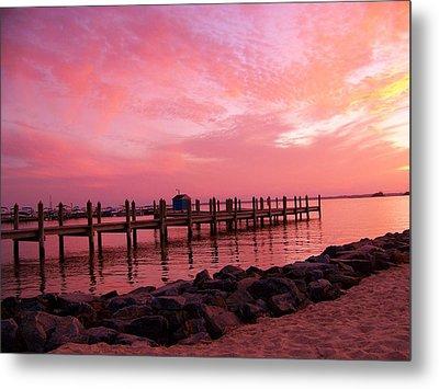 Hot Bay Sunset Metal Print by Trish Tritz