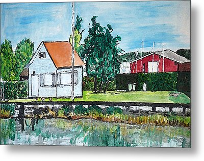 House By The Lake Metal Print by Monica Engeler