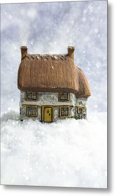 House In Snow Metal Print by Amanda And Christopher Elwell