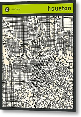 Houston Street Map Metal Print by Jazzberry Blue