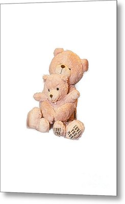 Hugging Bears Cut Out Metal Print by Linda Phelps