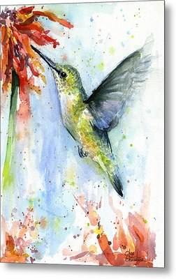 Hummingbird And Red Flower Watercolor Metal Print by Olga Shvartsur