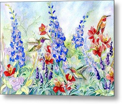 Hummingbird Garden In Spring Metal Print by Audrey Jeanne Roberts