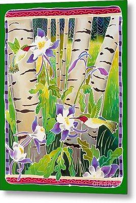 Hummingbirds In The Aspen Metal Print by Harriet Peck Taylor