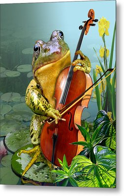 Humorous Scene Frog Playing Cello In Lily Pond Metal Print by Regina Femrite