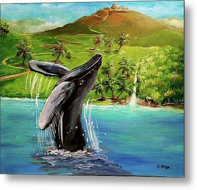 Humpback Whale Breaching At Haleakala Hawaii Metal Print by Bernadette Krupa