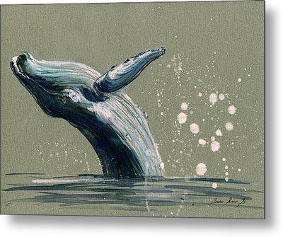 Humpback Whale Swimming Metal Print by Juan  Bosco