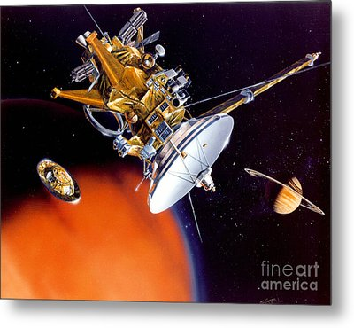 Huygens Probe Separating Metal Print by NASA and Photo Researchers