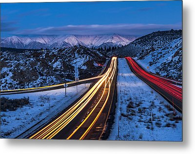 Hwy. 395 At Blue Hour Metal Print by Cat Connor