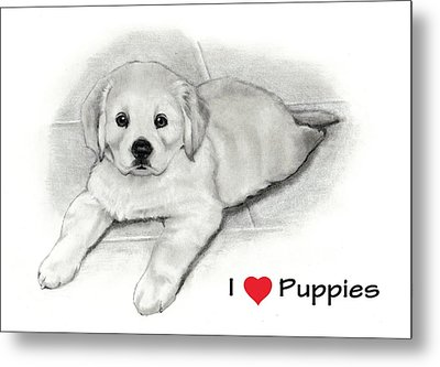 I Love Puppies Golden Retriever Metal Print by Joyce Geleynse
