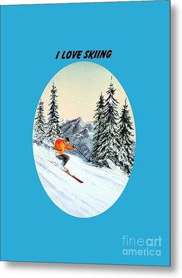 I Love Skiing  Metal Print by Bill Holkham