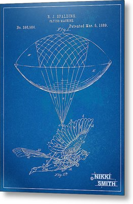 Icarus Airborn Patent Artwork Metal Print by Nikki Marie Smith
