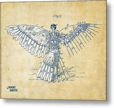 Icarus Human Flight Patent Artwork - Vintage Metal Print by Nikki Smith
