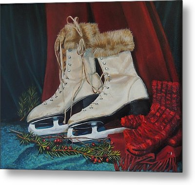 Ice Skates And Mittens Metal Print by Patty Kay Hall