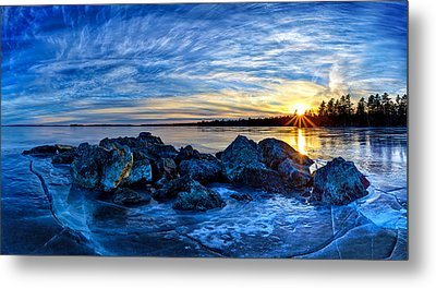 Icebound Sunset Panorama Metal Print by Bill Caldwell -        ABeautifulSky Photography