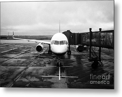 icelandair aircraft on stand at departures gate Keflavik airport Iceland Metal Print by Joe Fox