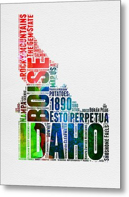 Idaho Watercolor Word Cloud  Metal Print by Naxart Studio
