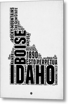 Idaho Word Cloud 2 Metal Print by Naxart Studio