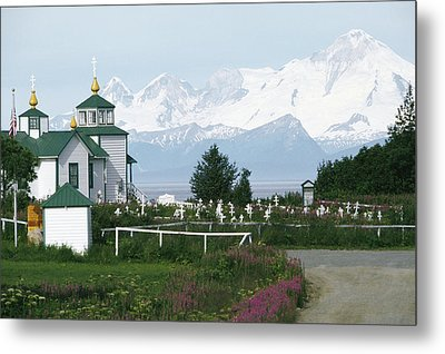 IIamna Volcano Looms Above A Russian Metal Print by Rich Reid