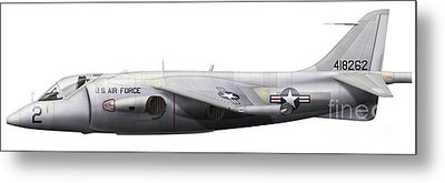 Illustration Of A Hawker P1127 Kestrel Metal Print by Chris Sandham-Bailey