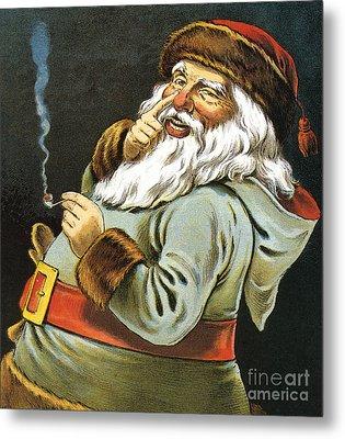 Illustration Of Santa Claus Smoking A Pipe Metal Print by American School