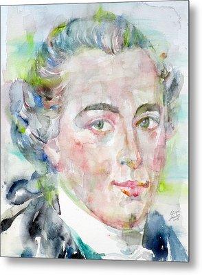 Immanuel Kant - Watercolor Portrait Metal Print by Fabrizio Cassetta