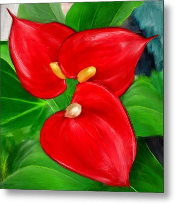 Immeasurable Beauty- Anthurium Paintings Metal Print by Lourry Legarde