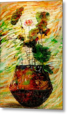 Impression In Lotus Tree Metal Print by Atiketta Sangasaeng