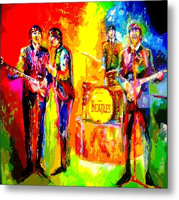 Impressionistc Beatles  Metal Print by Leland Castro