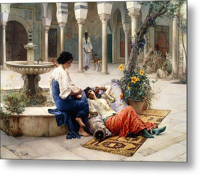 In The Courtyard Of The Harem Metal Print by Max Ferdinand Bredt