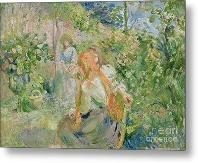 In The Garden At Roche Plate Metal Print by Berthe Morisot
