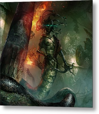 In The Lair Of The Gorgon Metal Print by Ryan Barger